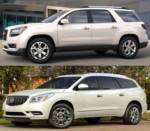 2015 GMC Acadia vs. 2015 Buick Enclave white diamond